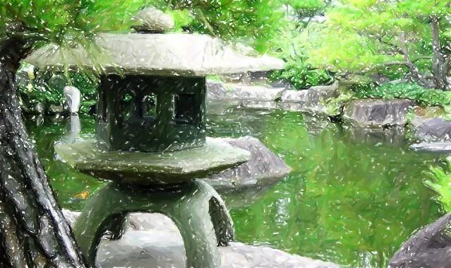 Stone lantern, koi pond, Nara, Japan